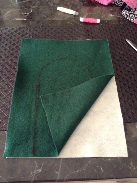 The template is all done, time for cutting! I put the front side and back side together, and cut both pieces together