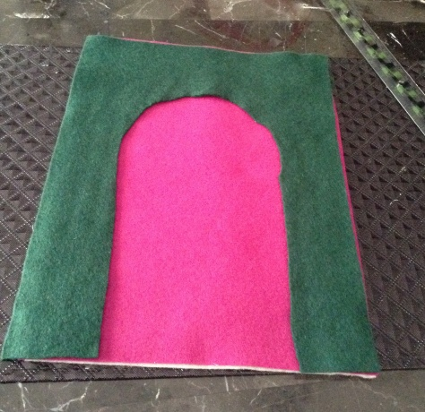 You can use the template that you cut up for the shape of the doll as a prayer mat, just put it on top of another felt sheet and stitch the two pieces of felt together!