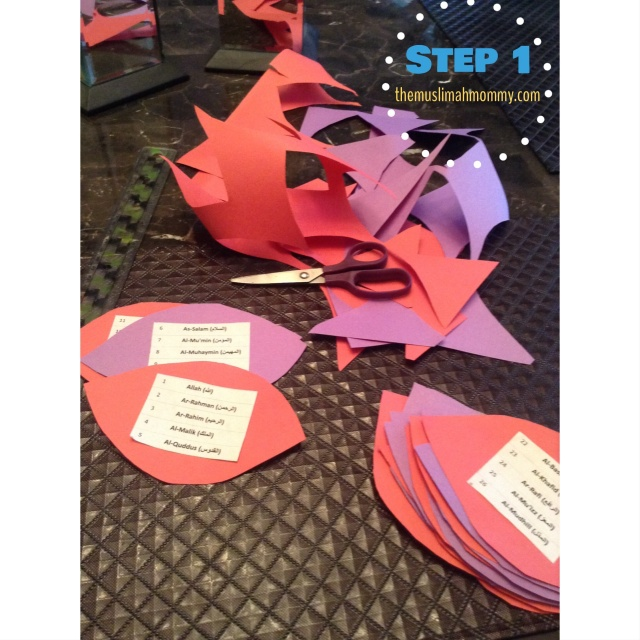 Print off, or write the 99 names of Allah. Glue the names onto petals cut out from construction paper. I chose to glue on the names in groups of 4 and 5, thus saving some time.