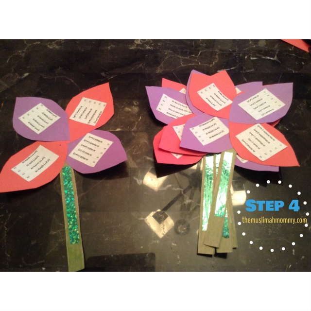 Glue or tape the stems onto your flowers.