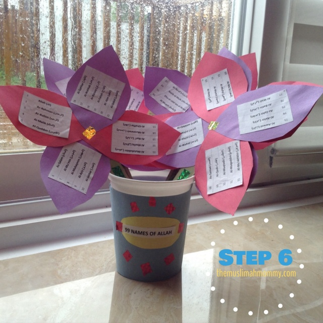 Put the flowers into your pot and start learning the 99 names of Allah!